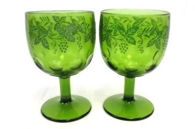 Pair of Vintage Indiana Glass Green Vine Embossed Thumbprint Large Goblets