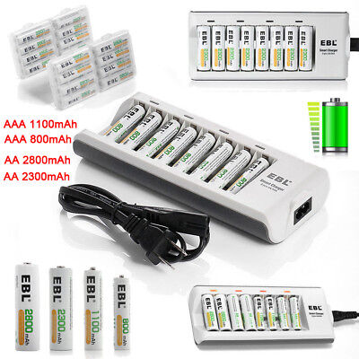 EBL AAA AA Ni-MH Rechargeable Batteries + 8Bay Charger for Camera Flashlights US
