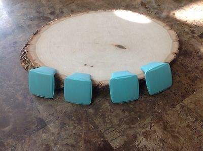"011 VTG MidCentury Handles In A Turquoise Wash 3/4"" Hole To Hole Set Of 4"