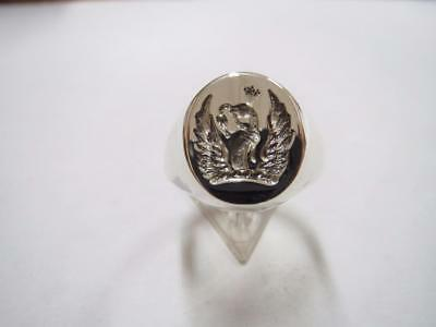 New Silver FAMILY CREST Seal Engraved Crest Signet Ring. Any crest available
