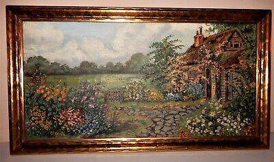 Vintage Deco ENGLISH Thatched COTTAGE GARDEN Roses Sunflowers Oil Painting 1930s