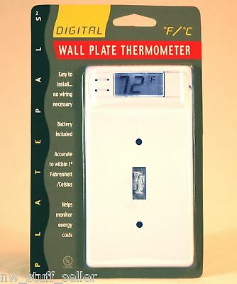 DIGITAL THERMOMETER LIGHT SWITCH PLATE WHITE SINGLE 12100 wallplate ENERGY SAVER