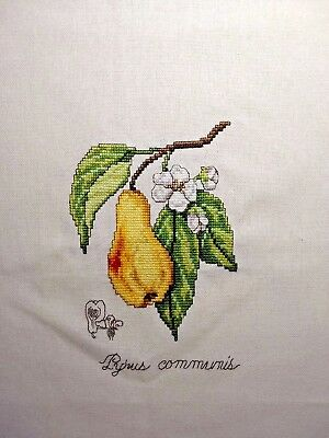 FINISHED Cross Stitch Fruit Pear Completed Handmade Wall Decor Home ...