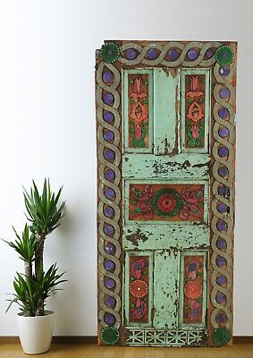 Antique Door Carved,Vintage Solid Wood Panel Decorative Architectural (71'')