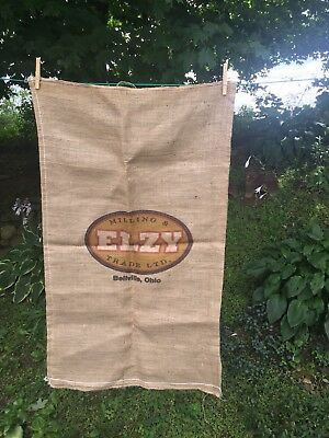 "Large 24""x40"" Burlap Grain Feed Sack Bag ""ELZY Milling & Trade"" Farmhouse Decor"