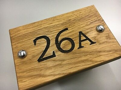 Solid Oak Engraved House Door Number Plaques