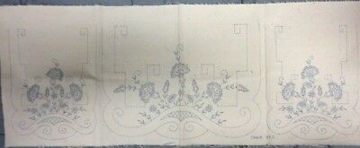 3 Piece Antique Vtg Stamped Linen Table Runner Embroidery Cross Stitch Art Deco