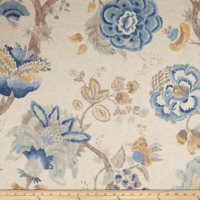 WINSLOW FRESHAIR Richloom Cotton/Linen Floral Print Fabric Blue Yellow Brown