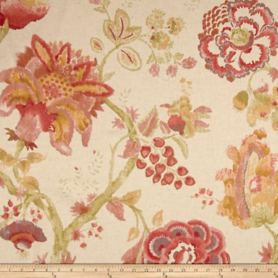 WINSLOW SEDONA Richloom Cotton/Linen Floral Print Fabric Pink Green Yellow
