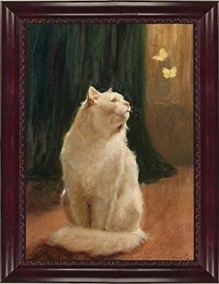Victorian Trading Co. White Cat and Butterflies Unframed