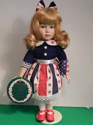 Brinn's collectible, limited edition, summer miss, patriotic porcelain doll
