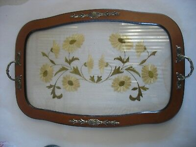 Vintage Rectangular wood serving tray w embroidered floral insert & metal trim