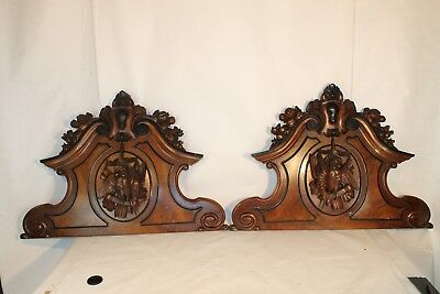 """XXL 40"""" 1850ths antique  french PEDIMENT hunting  ARCHITECTURAL  PAIR fantastic"""