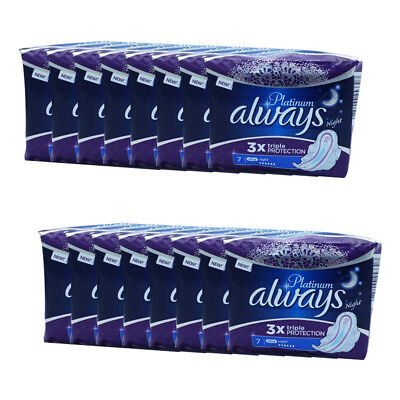 Always ultra Platine nuit triple protection 7 x 16 coussinets avec des ailes
