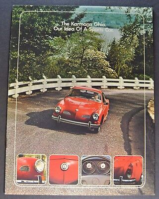 1973 Volkswagen Karmann Ghia Catalog Brochure Excellent Original 73 VW