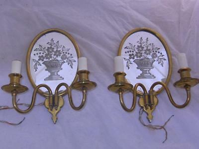 pr Brass Sconces Lights w/ Mirror Backs etched Urns Flowers Queen Anne Style AM