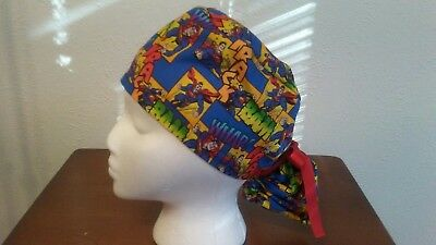 ... discount code for superman super hero womens ponytail surgical scrub  hat cap handmade 92344 b744b 171acfedbc69