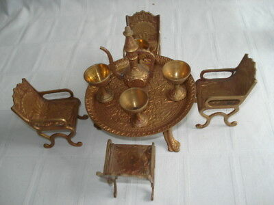 Solid Brass Dollhouse Ornate Table Chairs Goblets Set 10 Pc Vintage India