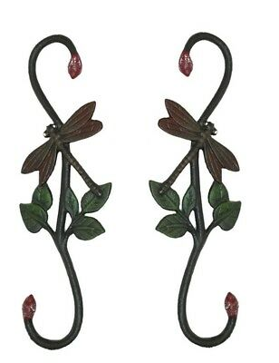 "Cast Iron Painted Dragonfly Plant Hangers 12"" Tall (Set of Two) 0184J-3073"
