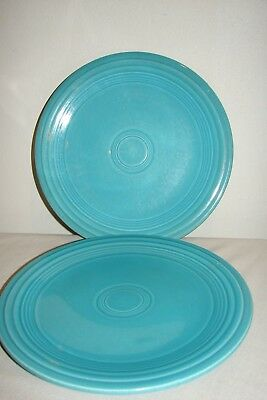 "Vintage Fiesta Genuine HLC USA Turquoise 9.5"" Luncheon Plate Lot (2)"