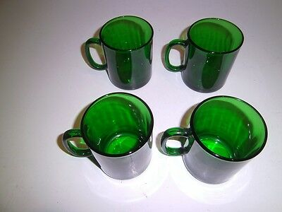 4 Vtg Arcoroc Luminarc Emerald Green Glass Coffee Mugs CLASSIQUE France NEW wTAG