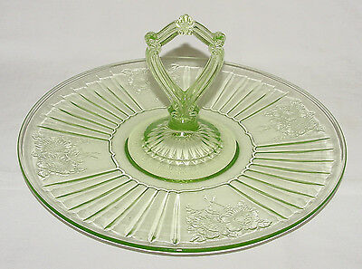 "PERFECT Vintage Green Hocking ""MAYFAIR"" Center-Handled PLATTER!!"