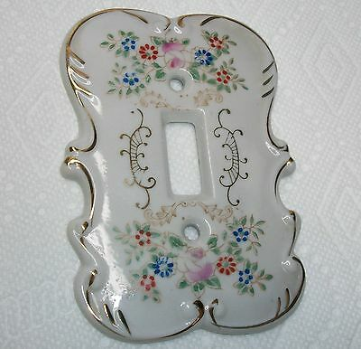 Vintage Porcelain  Floral Wall Switch Cover 7310 Made In Japan.