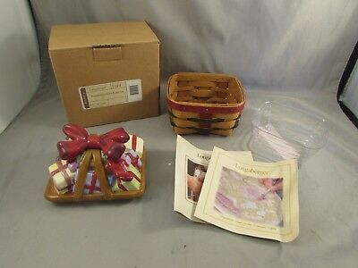 New Longaberger Little Christmas Gift Basket, Lid, Protector         A-1