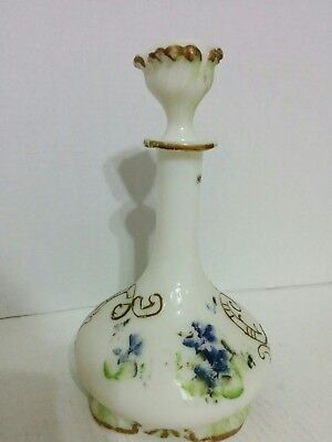 Vintage White Milk Glass Cologne Dresser Barber Bottle Hand Painted Stopper