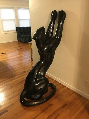 Vintage Life Size BLACK PANTHER Statue Art Deco Style