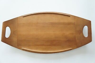 Vintage Mid Century Modern Wood Serving Tray Signed Baribocraft Teak Walnut MCM