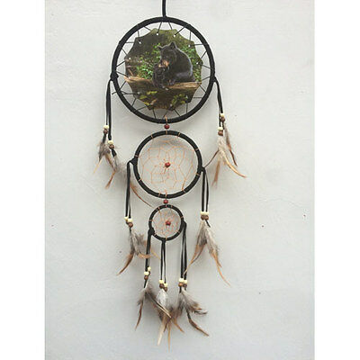 "Black Bears  6.5 "" Triple Dream Catcher With Beads & Feathers Wall Decoration"