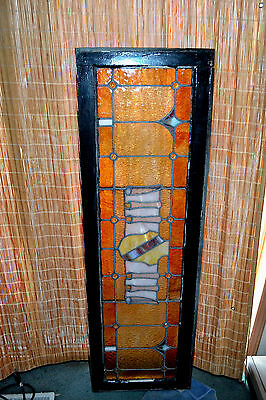 Antique Wood Framed Stained Glass lead Window Sash Panel Jewels Coat of Arms