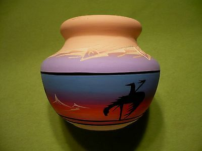 Navajo Native American painted Clay Pot Indian scenic. End of trail- camp- trees
