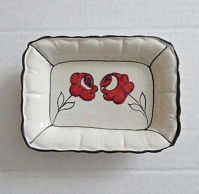 Vtg Italian Italy Ceramic Pottery Flower White Soap Dish Red Rose Tricket Tray 1