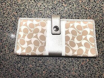 Coach Signature leather wallet * Excellent condition 9/10 * Tan / Gold / Brown