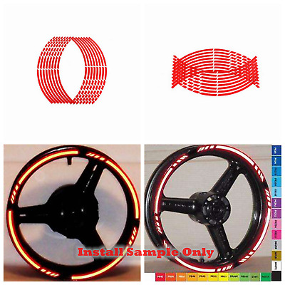 "Red Motorcycle Reflective Rim Stripe Tape sticker 17"" wheel Honda Suzuki Yamaha"