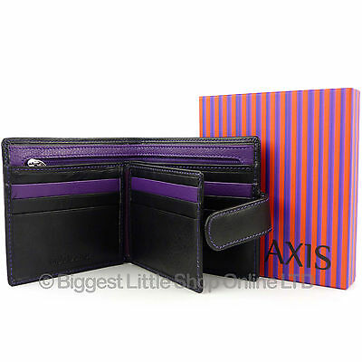 e5229d8d2c6 NEW Mens Quality Black   Purple LEATHER WALLET by AXIS Gift Boxed MALA  Stylish