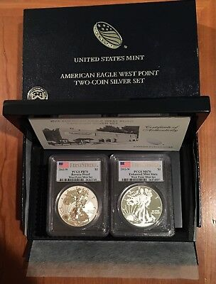 2013-W Silver Eagle West Point Two Coin PCGS MS70 & PR70 First Strike w/OGP Spot