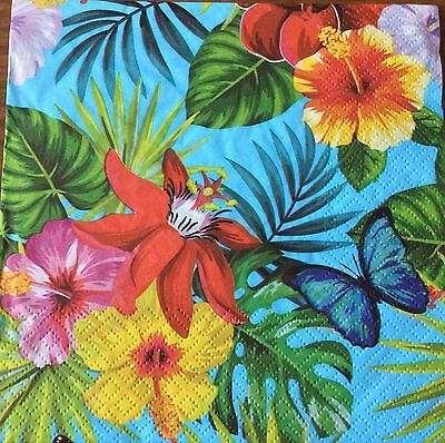 2 single paper napkins Decoupage Craft Collection Tropic flowers plant Butterfly
