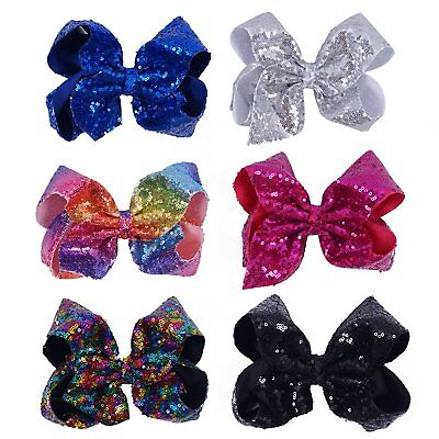 CN Bow For Girls 8 Inch Baby Hair Bows For Girls Big Large Sequin Boutique Bows