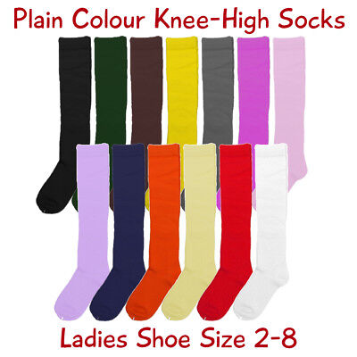 Ladies Cotton Knee-High Socks, Plain Colours, Ladies Shoe Size 2-8, Free Postage