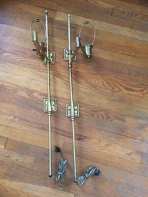 Vintage Brass Tone Swing Arm Wall Light Pair