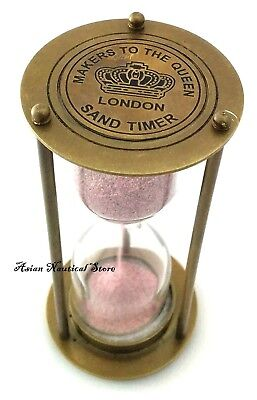 VINTAGE STYLE CLOCK TIMER BRASS HOUR GLASS ANTIQUE LOOK SAND TIMER Asian Nautic