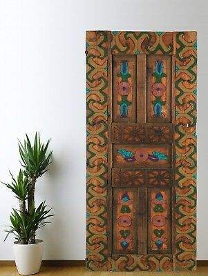 Antique Turkish Door Carved Vintage,Solid Wood Panel Architectural (71'')