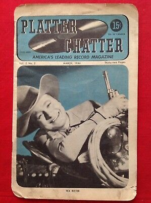 3/1946 PLATTER CHATTER Record Magazine TEX RITTER Vol #2 #2 JIMMY DORSEY