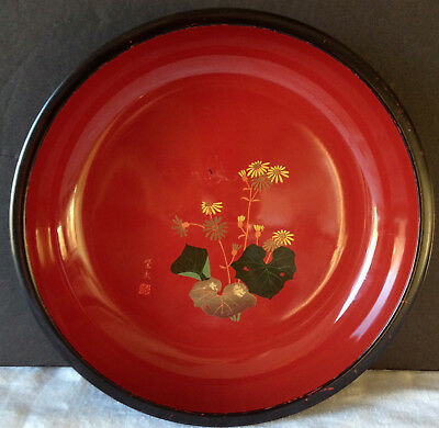 Japanese Lacquer Bowl Black with Red Interior & Flowers