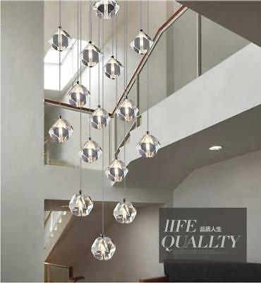 Customized LED crystal Long pendant duplex villa restaurant chandelier lighting