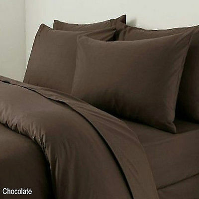 Poly-Cotton Plain Dyed 3PC Duvet Cover Single Double King Chocolate All UK Sizes