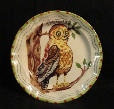"French Owl Ornament Plate Nathalie Lete 8"" Kiln 4 Co. of Fine Craft"